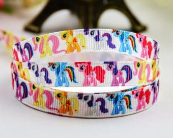 Grosgrain Ribbon, My Little Pony Ribbon 3/8 inch 9mm Ribbon, Grosgrain Ribbon, Hair Bow Ribbon