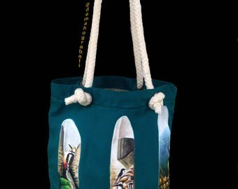 Cotton Canvas Tote Bag - Feather2 Acrylic Painted - An Original Painted - Handmade Tote Bag