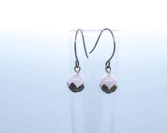 Vintaj Rose Quartz Lotus Drop Earrings