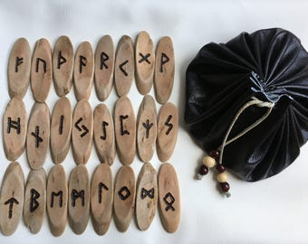 Driftwood Elder Futhark Runes With Bag