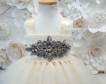 Cream/Butter Flower Girl Tutu Dress-Cream/Butter Tutu Dress-Cream/Butter Girl Tutu-Cream/Butter-Cream/Butter Wedding Tutu