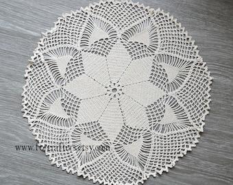 Crochet doily lace cotton handmade doily vintage doily 12 Inches round doily, doilies, ecru doily