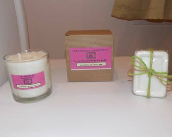 Luxury Jasmine And Ylang Ylang Soy Candle 200g And Soap 110g  Gift Set With Gift Box And Gift Tag