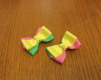 Adorable pigtail bows in maize, pixie pink, and mint, mini bows, toddler bows