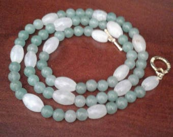 Green and White Glass Beads