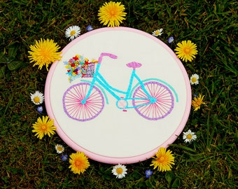 Hand Embroidered Vintage Bike With A Basket Of Flowers