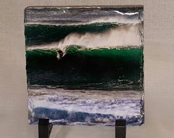 Rock Photo Slate with a Surfer Photograph