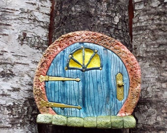 Magical fairy door / IMP door made of ceramics with half-round window