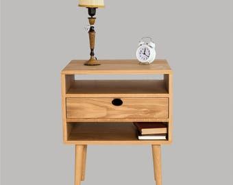 Bedside table Walnut/oak solid 2H1C Mind Century