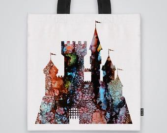 Castle Tote Bag Shoulder Bag Market Bag Art Print