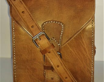Handmade, hand stitched, genuine organic leather shoulder purse, man bag.