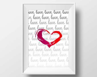 Red love heart print, Red heart wall art, Grey red wall art, Grey red love wall art, Grey red love print, Text red heart print, Newspaper