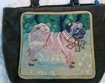 Cross Stitch Pug Purse on Suede
