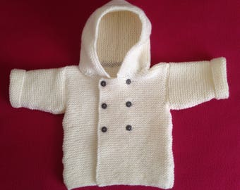 """Coat hooded knitted wool color hand """"off white"""""""