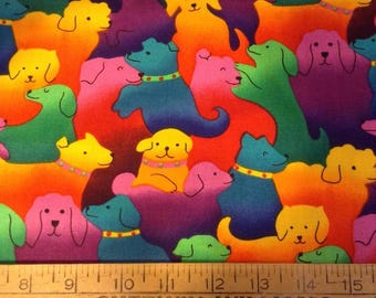 Colorful dogs cotton fabric by the yard
