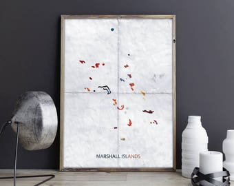 Marshall Islands Map Country Map Watercolor Map Country Map Print Country Map Poster Country Map Photo Country Map Marshall Islands Unframed