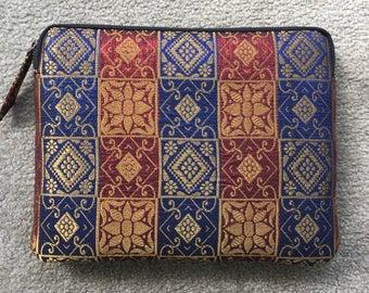 Unique, handmade Ikat fabric ipad purse