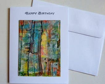 Birthday Card, hand painted card, hand made card, homemade card, abstract trees, trees, ink and watercolor, whimsical, mixed colors, artwork