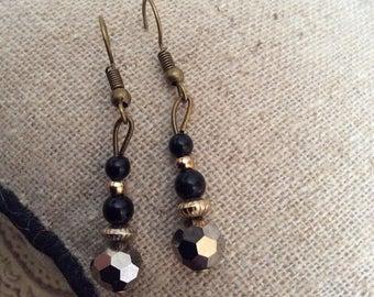 Handmade individual black and gold bead earings