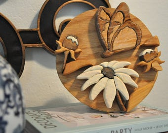 Vintage Bohemian Wooden Art, 1970s Butterfly + Flowers Wall Hanging