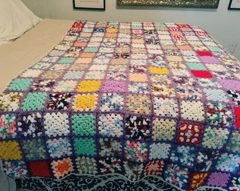 SALE! Multicolored Vintage Afghan, Rainbow Crocheted Throw Blanket 78 x 56, Granny Squares