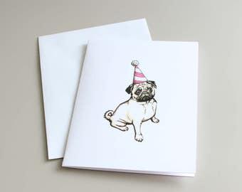 Birthday Card, Dog Card, Pug Card, Pug Illustration, Pug Birthday