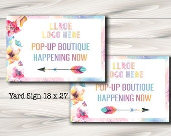 LLRoe Yard Sign, Home Office Approved, Pop Up Boutique, Printable, Instant Download, Banner, Fashion Retailer,  - watercolour
