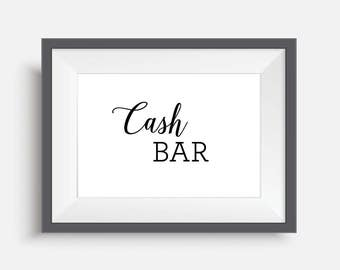 cash bar printable digital download digital print printable wedding signs wedding poster