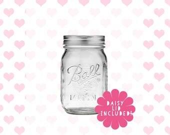 Mason Jar 475ml 16oz Regular // Ball Jars Canning Jar Tumbler Smoothie // daisy lid pewter antique blue pink