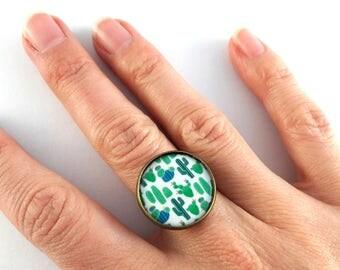 Ring adjustable cactus pattern