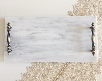 White Italian Carrara Marble Tray With Handles