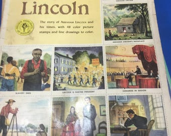 1954 Abe Lincoln golden stamp book