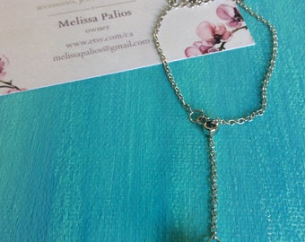 Lariat Pearl Silver Necklace