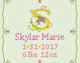 Birth Announcement Floral Letter Cross Stitch 8x8 - Digital Download Pattern