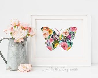 Pink Floral Butterfly Baby Girl Nursery Wall Art Girl Room Decor Digital Printable