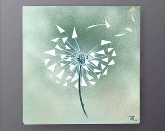 "Painting Dandelion 12"" Original acrylic painting on canvas,Clean Modern looks, Beautiful refreshing colors, Express shipping, Katka Kudashik"