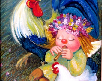 Angels Music Bykova Original Oil Painting Rooster Hen Chick Girl Field Flowers Love Birthday Mother Day Baby Shower Gift New Present Decor
