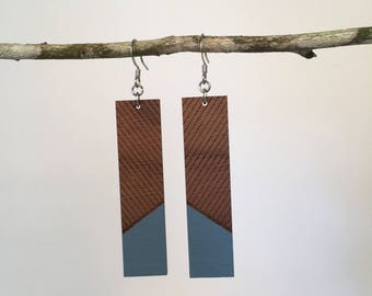 Sea Blue Engraved Hand Painted Wood Rectangle Earring, Wooden Earring, Laser Cut Earring, Laser Cut, Painted Earring, Engraved Earring