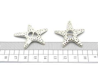 10pcs 5mm Flat Leather Supplies starfish Slider connectors bracelet making Jewelry Findings & Components D-1-5-12