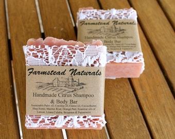 Citrus Shampoo & Body Bar, Handmade Soap, Natural Shampoo, Pink Soap,blush Pink, Lace Soap,Camping Soap, citrus soap, best seller, favourite