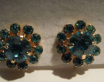 Earrings Blue Rhinestones Prong Set in a Flower Motif with Screw Backs Vintage