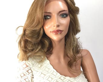 Sara Human Hair Blend Multi Parting Lace Front Wig -' e1038