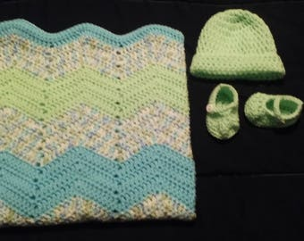3 piece ripple in blue, green and multi