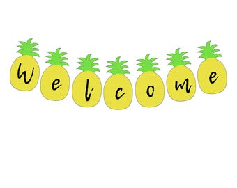 Pineapple printable banner download A-Z