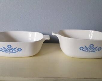 Vintage Cornflower set of 2 casserole dish