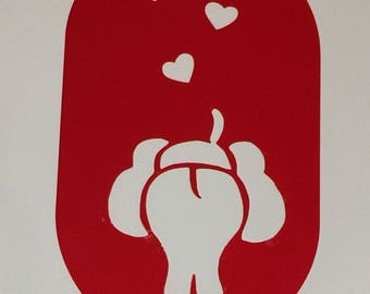 Elephant Blowing Hearts Stencil **Introductory Price!!**
