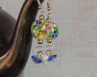 Long earrings with colorful glass beads