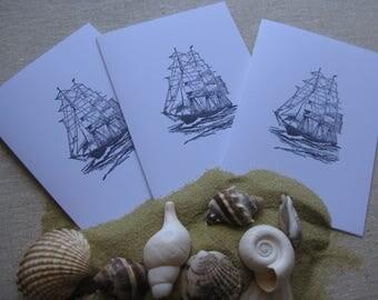 6 Handmade Schooner blank notecard set