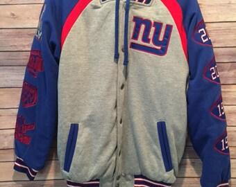 New York Giants 4x Super Bowl Champions w/ Patches Detachable Hood Jacket Mens S
