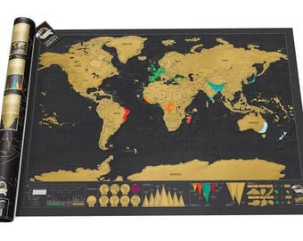 World Map Black Scratch Map Perfect Gift Globe Traveller Gift Scratch Journal High Quality Travel World Map